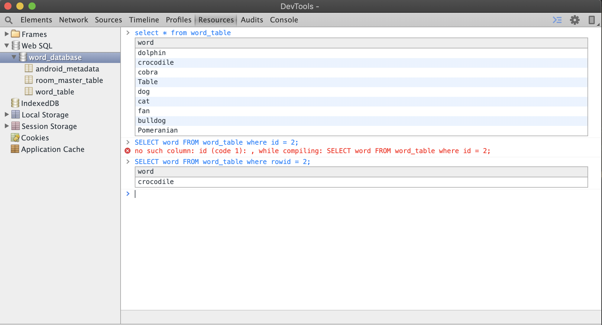 Database inspection window in Chrome DevTools from Android emulator